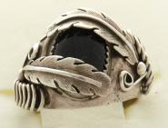 Ring mit Sterling Silber Federn und Onyx