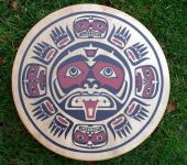 46 cm Sunmask Northwest Coast Native American Drum