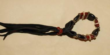 Choker Armband 5-reihig Büffel Horn dunkelrot