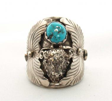 Ring Büffelkopf mit echtem Türkis