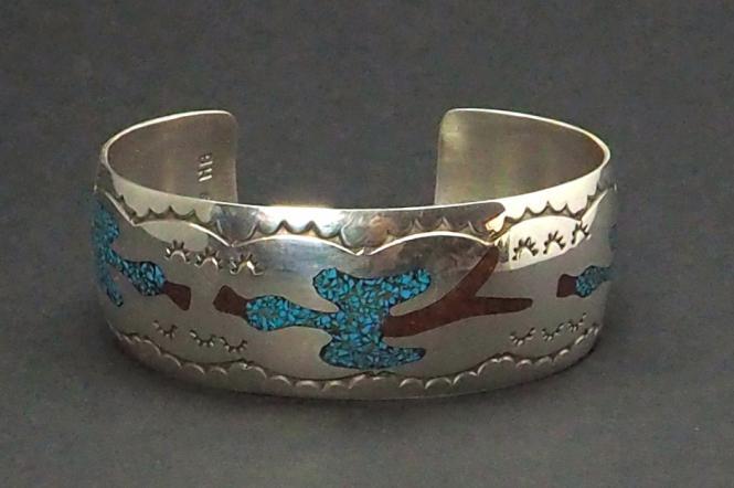 Peyote Bird Navajo Armreif Silber Chip Inlay Türkis/Koralle