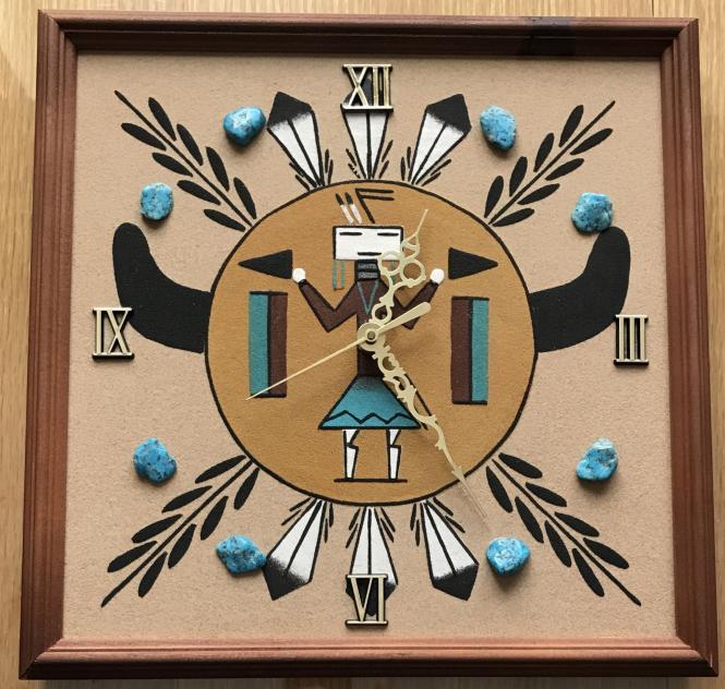 Sandpainting Uhr - Buffalo Spirit
